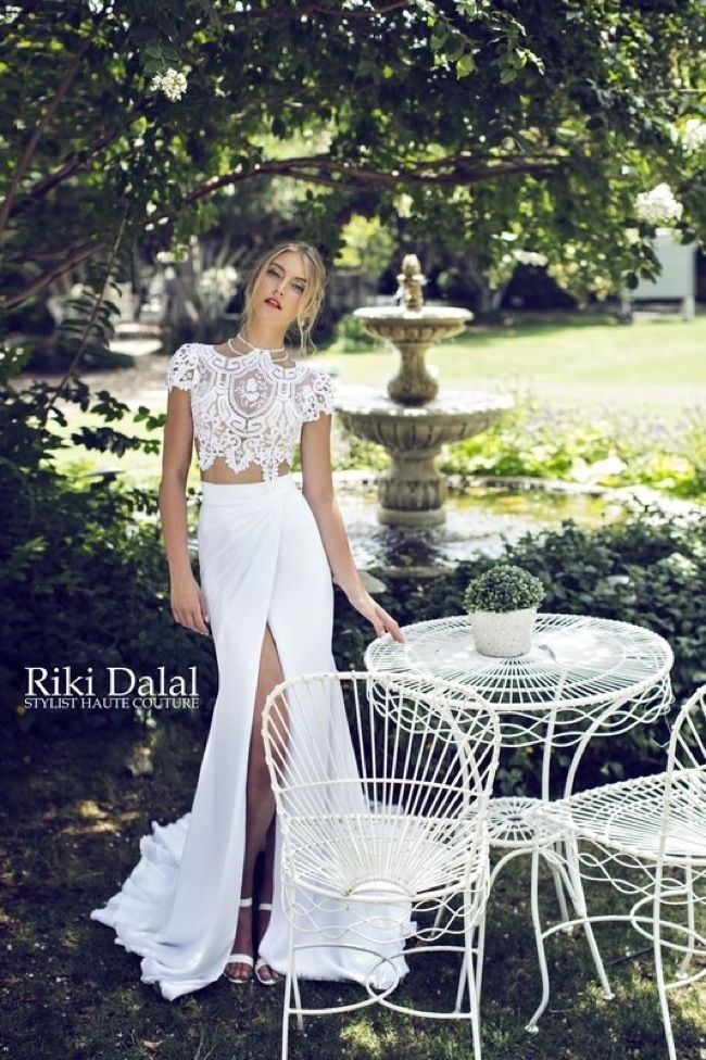 Very different and daring. I love it but probably couldn't pull off this wedding crop top dress.