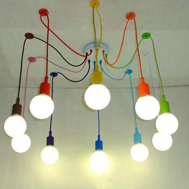 Красочные Подвесной Светильник 10 Голов разноцветные Силиконовые E27 Искусство Подвесные Светильники Для Современный Бар Ресторан Спальни Торговый центр