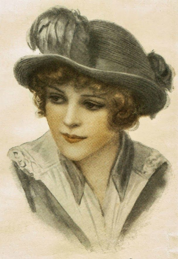 1900's Women's Hat Fashions Royalty free Stock antique graphic images from  http://knickoftimeinteriors