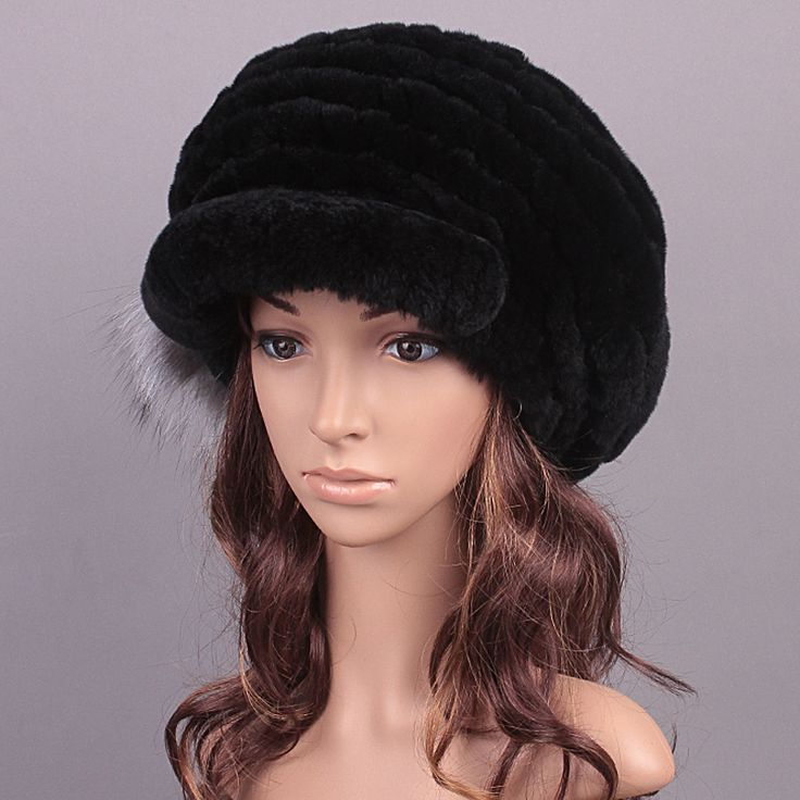 Fur Hats Caps Knitted Rex Rabbit Fur Fluffy Ball Design Hat Girls Caps For Women Women 2016 New Russian Winter Hat Visors