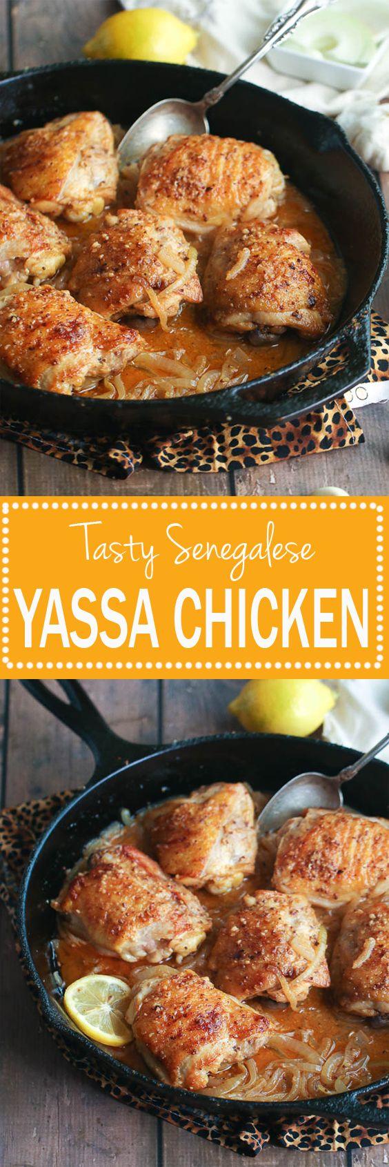 Yassa Chicken (Poulet au Yassa)- Popular Grilled  Senegalese chicken simmered in garlic and onions sauce