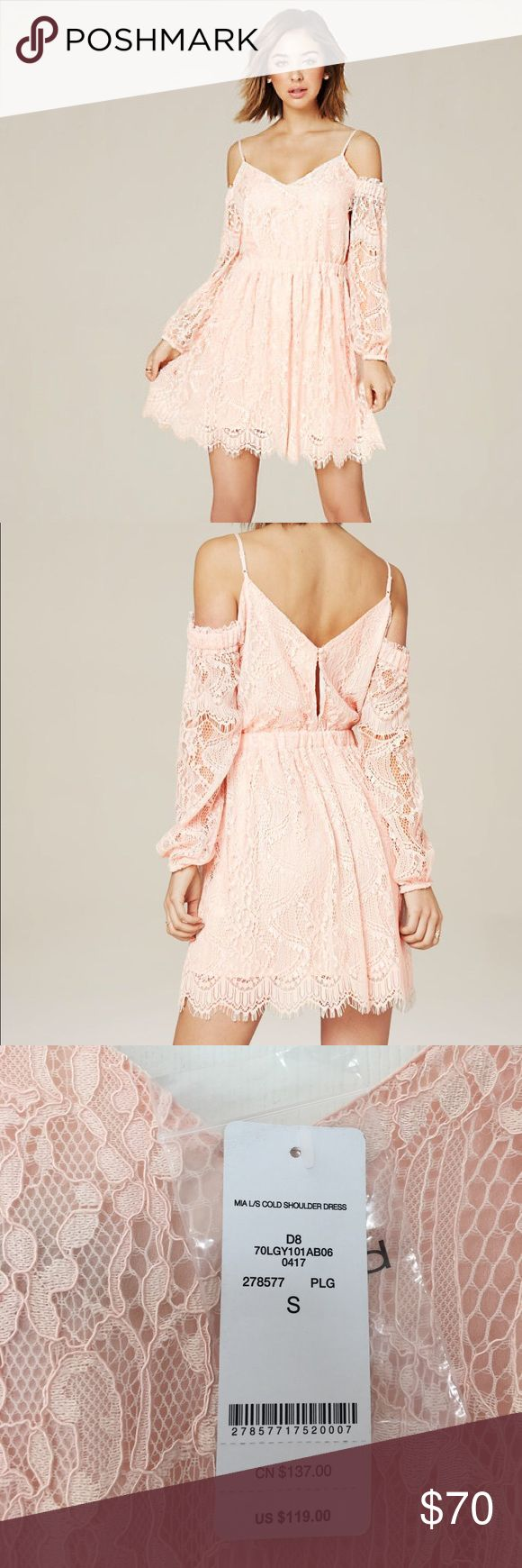 Bebe Mia Cold Shoulder Dress Adorable Blush colored dress from Bebe, with an elastic waist band. NWT bebe Dresses Midi