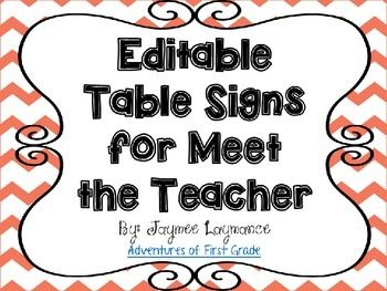 These+are+easy+to+print,+editable+Meet+the+Teacher+table+signs.++You+can+use+these+for+any+back+to+school+night,+open+house+or+anything+you+need+numbered+signs+for.I+use+these+signs+to+help+parents+know+where+to+put+things+as+they+are+coming+in+to+my+room.