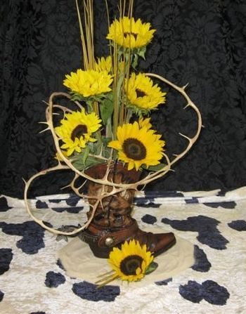 Western party centerpiece- for baby shower, but less crazy