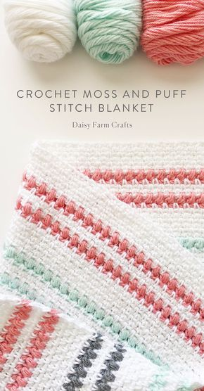 Padrão Livre - Crochet Moss and Puff Stitch Blanket #crochet