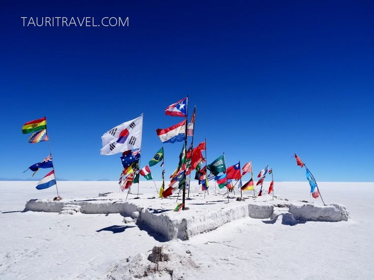 The unbelievable place: Salar de Uyuni, Bolivia. International flags in the middle of nowhere. #Bolivia #adventure #SouthAmerica #tourism
