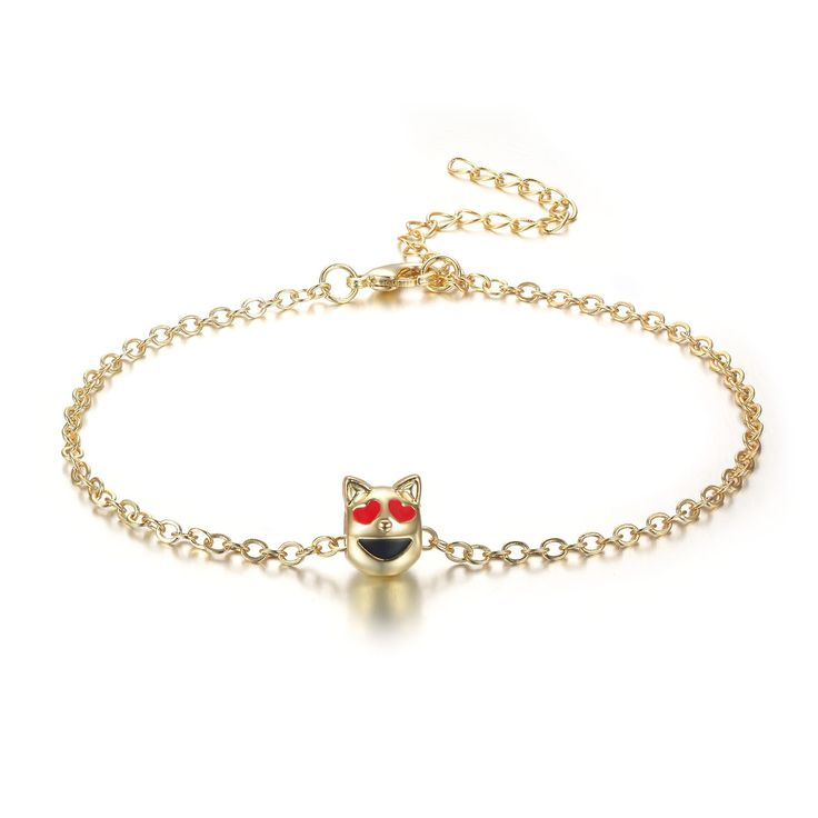 Purrfect Smiling Cat With Heart Eyes Emoji Anklet, 9 Inches (Purrfect Smiling Cat With Heart Eyes), Orange, Size 9 Inch