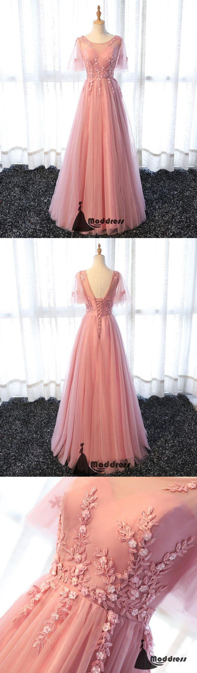 Pink Long Prom Dress Applique Evening Dress A-Line Tulle Formal Dress,HS485  #fashion #shopping #promdresses #eveningdresses #prom #dresses