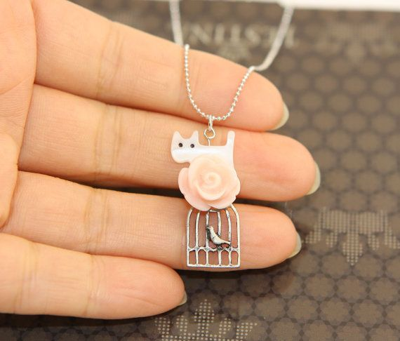 Sweet White Cat & Bird Cage Charm Necklace For by JamiesQuilting