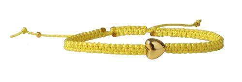 macramé armbånd med forgyldt hjerte - Til dette armbånd er der brugt følgende materialer:  2,6m polyestersnor i gul 0,9mm 1 stk. hjerte i forgyldt sterlingsølv 7x7mm 2 stk. forgyldt wireklemme + lighter