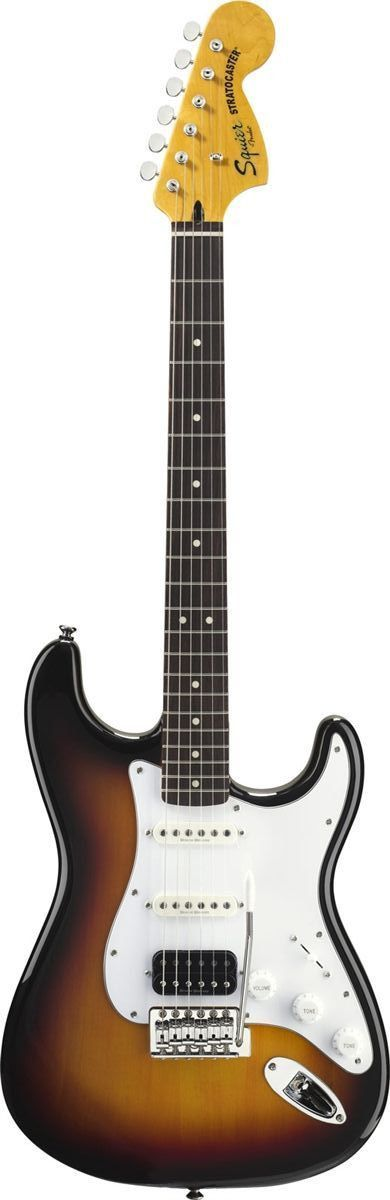 Squier Vintage Modified Stratocaster HSS With great sound, great feel and great value, Squier's Vintage Modified Stratocaster HSS comes roaring back with all-new features including a vintage-tint glos