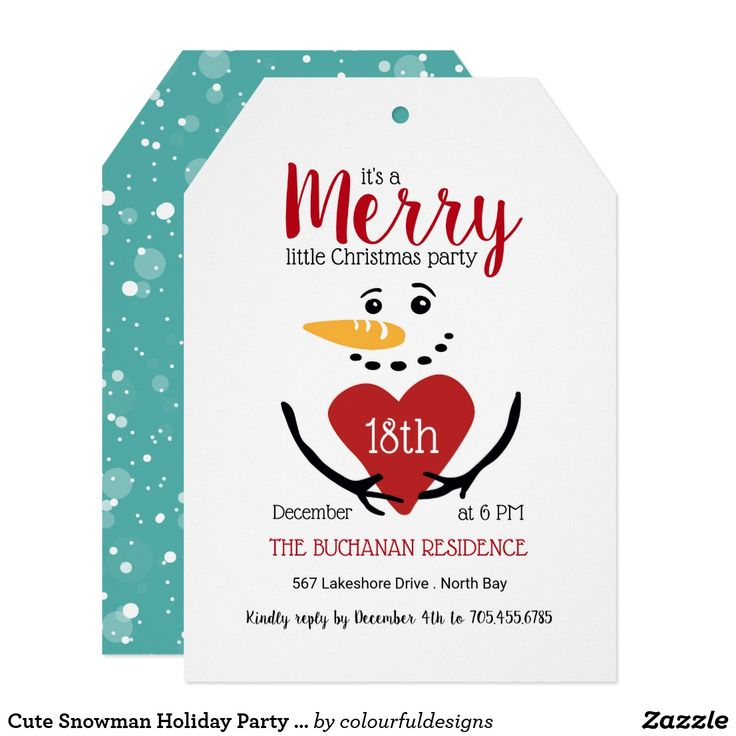 381 best christmas party invitations images on pinterest cute snowman holiday party invitation stopboris Image collections