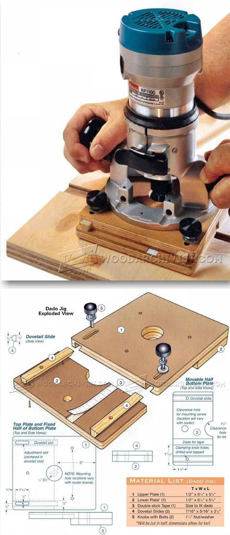 Adjustable Dado Jig - Joinery Tips, Jigs and Techniques | WoodArchivist.com
