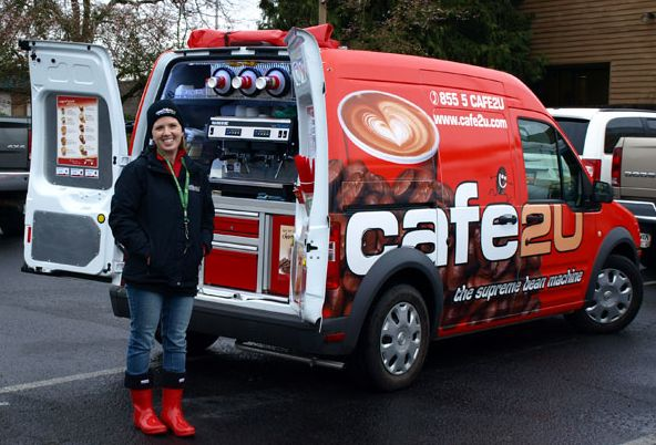 Cafe2U has taken the espresso coffee shop and turned it into a mobile operation. A Cafe2U van is equipped with a real high end espresso machine, a professional espresso grinder, a generator, a refrigerator full of milk and other goodies, as well as a custom roasted espresso coffee blend that has been named  one of the best in the world in international competition.
