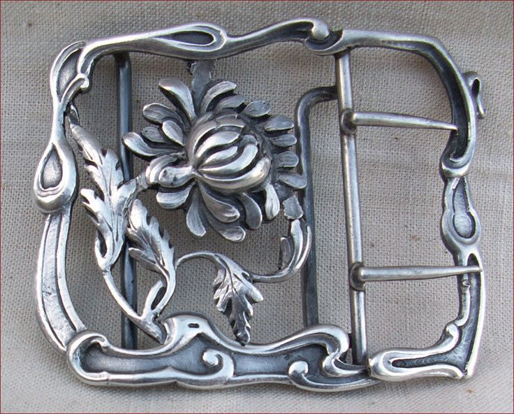 French Art Nouveau Sterling Silver Belt Buckle 1900