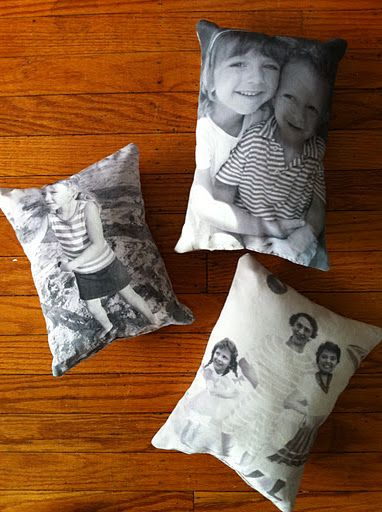 Finished pillows - 2 with grandchildren and one vintage photo from her childhood.