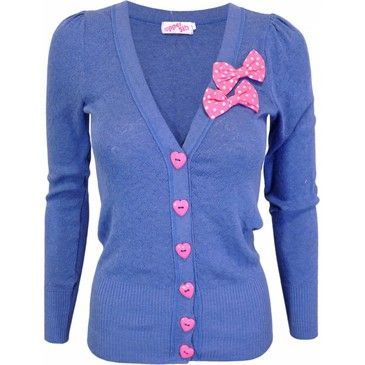 Darling heart shaped buttons and not one, but two, super cute pink bows - love!!! #cardigan #sweater #cute #preppy #pink #heart #bows #fashion