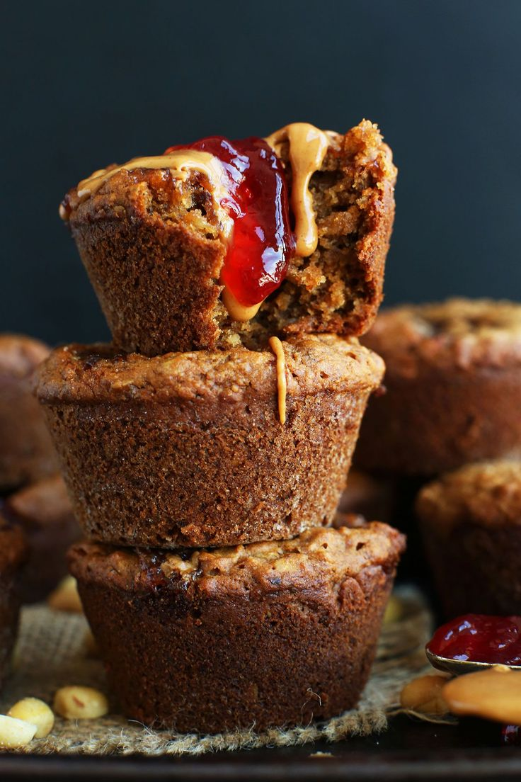 EASY 1 Bowl Peanut Butter and Jelly Muffins that are naturally sweetened, vegan, and gluten free! The perfect healthier snack or breakfast with protein!