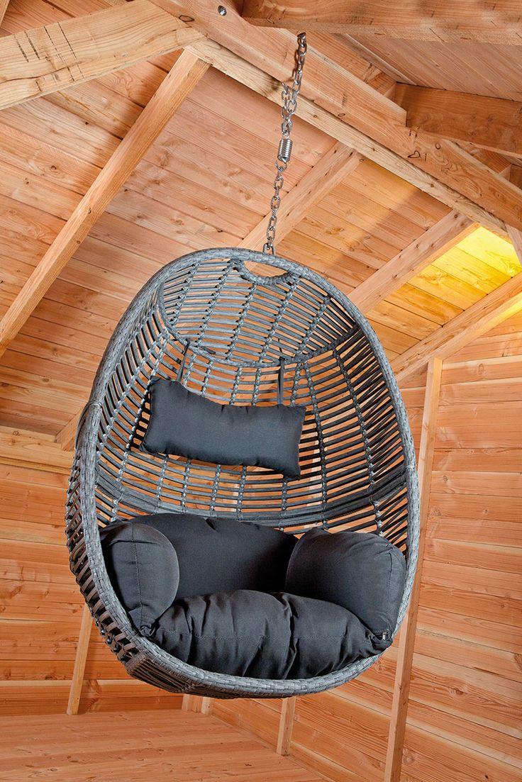 Cacoon Hangende stoel met kussen, neksteun en ketting (75 cm)