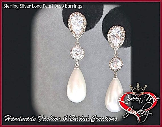 Pearl drop earrings Sterling silver posts by QueenMeJewelryLLC