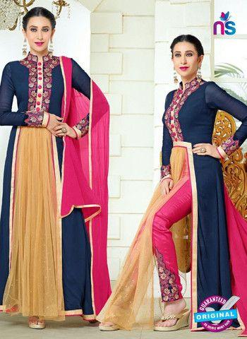 Elezita 73010 Blue, Pink and Beige Party Wear Faux Georgette Desiger Suit