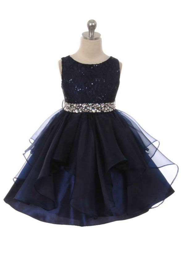 d2315256b65e Girls Dress Style 357 - NAVY Sparkly Embroidered Organza Dress with  Rhinestone Waist Classic beauty with