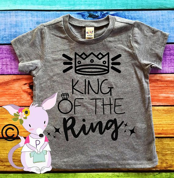 The Coolest Ring Bearer Needs the Coolest Shirt to show off!  King of the Ring T shirt Comes in many Colors Making it easy to match the wedding colors.  These do run a little smaller than some brands so I do suggest going up 1 size since they can always be shrunk down if needed.  Need a color you dont see just ask I probably can get it ;)  We use only commercial Grade items to make our shirts so they will last wash after wash :)