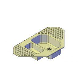 Corner kitchen sink 3D AutoCAD model
