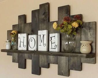 Rustic offset shelves; offset shelves, wooden shelves, shabby chic decor, rustic home decor, rustic country decor, farmhouse décor
