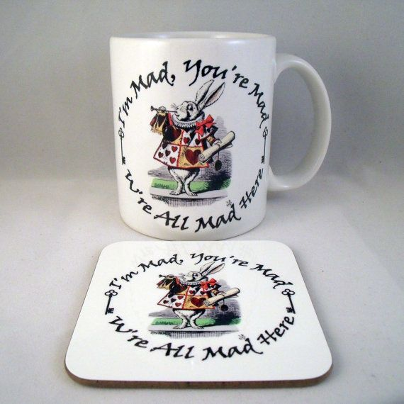 Alice In Wonderland Mug White Rabbit  Coaster by PurplePandaPrints