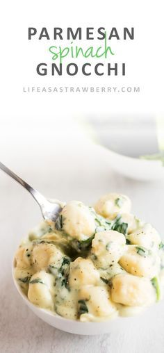 Parmesan Spinach Gnocchi   This easy parmesan spinach sauce is the perfect cheesy accompaniment to soft, pillowy gnocchi. A great, quick recipe for easy weeknight meals!