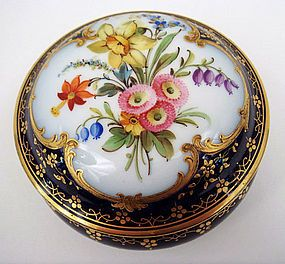 Lovely Antique European Dresser or Trinket Box ~ The ground color is a rich cobalt blue ~ There is a reserve on the lid with a vividly colored ~ hand painted bouquet of flowers ~ The reserve is framed with ornate raised gilding Produced in Europe ~ Circa late 19th century