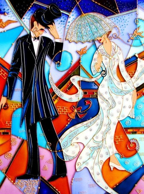 """""""Chance meeting"""". Stained Glass Painting by St. Petersburg artist Iris"""
