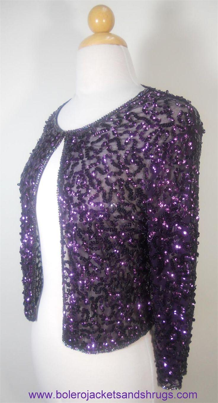 3/4 Sleeve Purple Sequin Bolero Jacket, great for weddings and special events.  http://www.bolerojacketsandshrugs.com