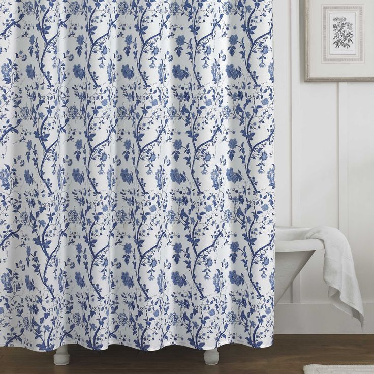 Refresh The Bath With This Pretty White Shower Curtain Featuring A Classic Blue Floral Print