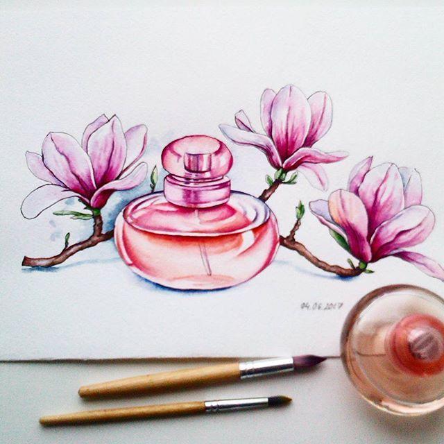 The first sketch of 21day challenge. Решила принять участие в 21дневном скетчмарафоне от @leto_v_chemodane. И первая тема - стекло с ароматом магнолии. #21скетч_стекло #21скетч #скетч #акварель #скетчакварелью #рисунок #рисуюкаждыйдень #watercolor #watercolour #art #sketch #sketchbook #paint #духи #парфюм #perfume