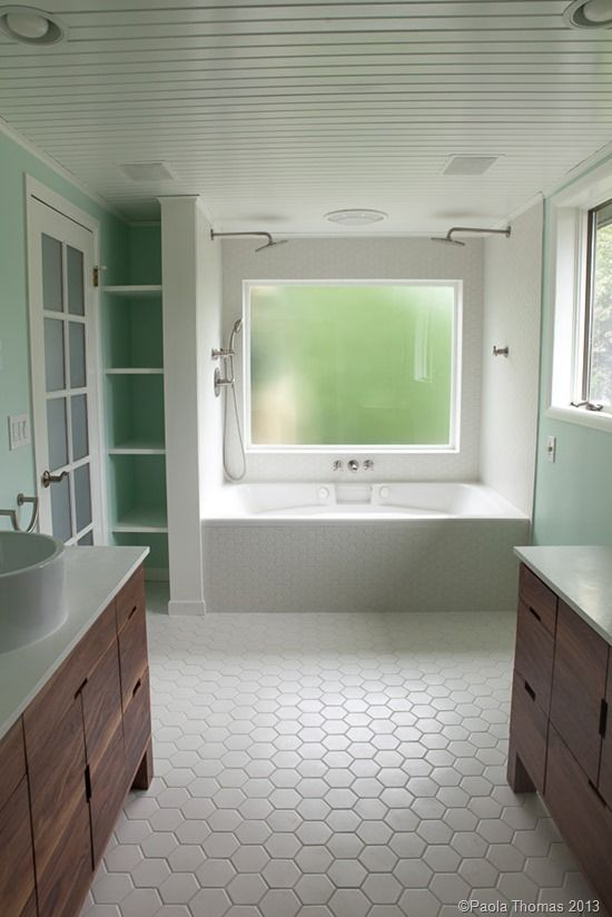 before & after bathroom remodel. love the frosted glass, double shower heads (though I really hate rainfall shower heads), and perfect hexagonal tile (white grout a major no-no in a real-life bathroom) #honeycomb #tile