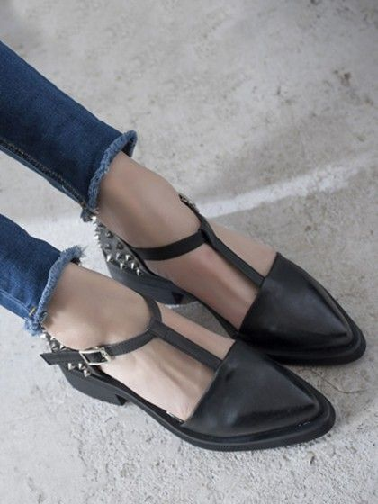 Black Studded T-bar Pointed Flat Shoes