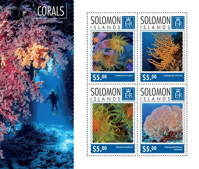 Post stamp Solomon Islands SLM 14704 aCorals (Tubastrea coccinea, {…}, Subergorgia hicksoni Kashman)