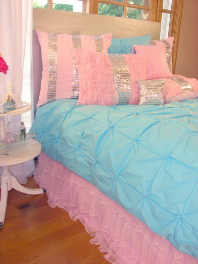 Pizzazz Girls Bedding Collection. Fun mix of soft  turquoise and pastel pink. Love the textures and colors and sparkle jewels. ♥