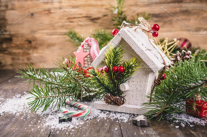 Christmas composition with white wooden house, by Iryna Melnyk Photography on @creativemarket
