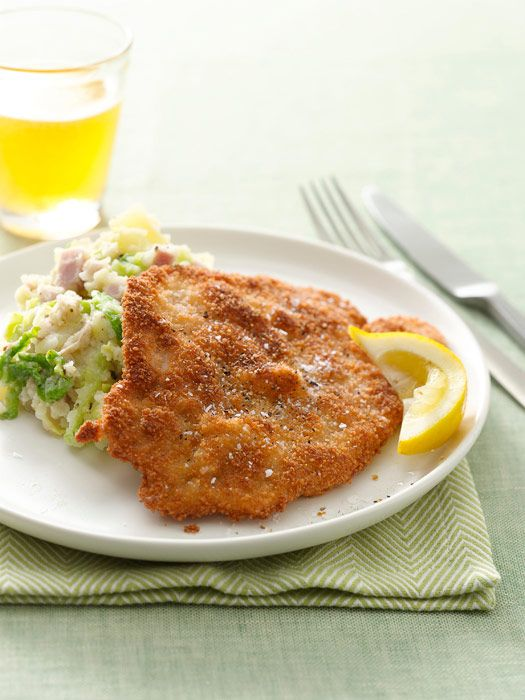 A quick dip in panko breadcrumbs is the trick for creating a crispy pan-fried pork cutlet. Cabbage and Black Forest Ham add texture and rich flavor to mashed Yukon Gold potatoes.Get the recipe!