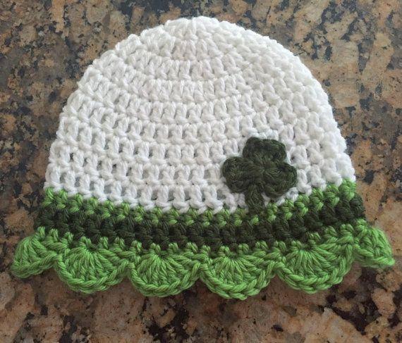 St Patricks Day Hat, Girls St Pattys Day Hat, Shamrock Crochet Hat, Clover St Patricks Day Hat