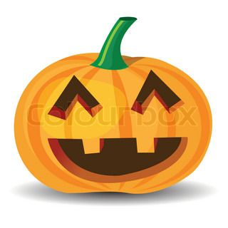 halloween pumpkin with laughing expression, vector format.