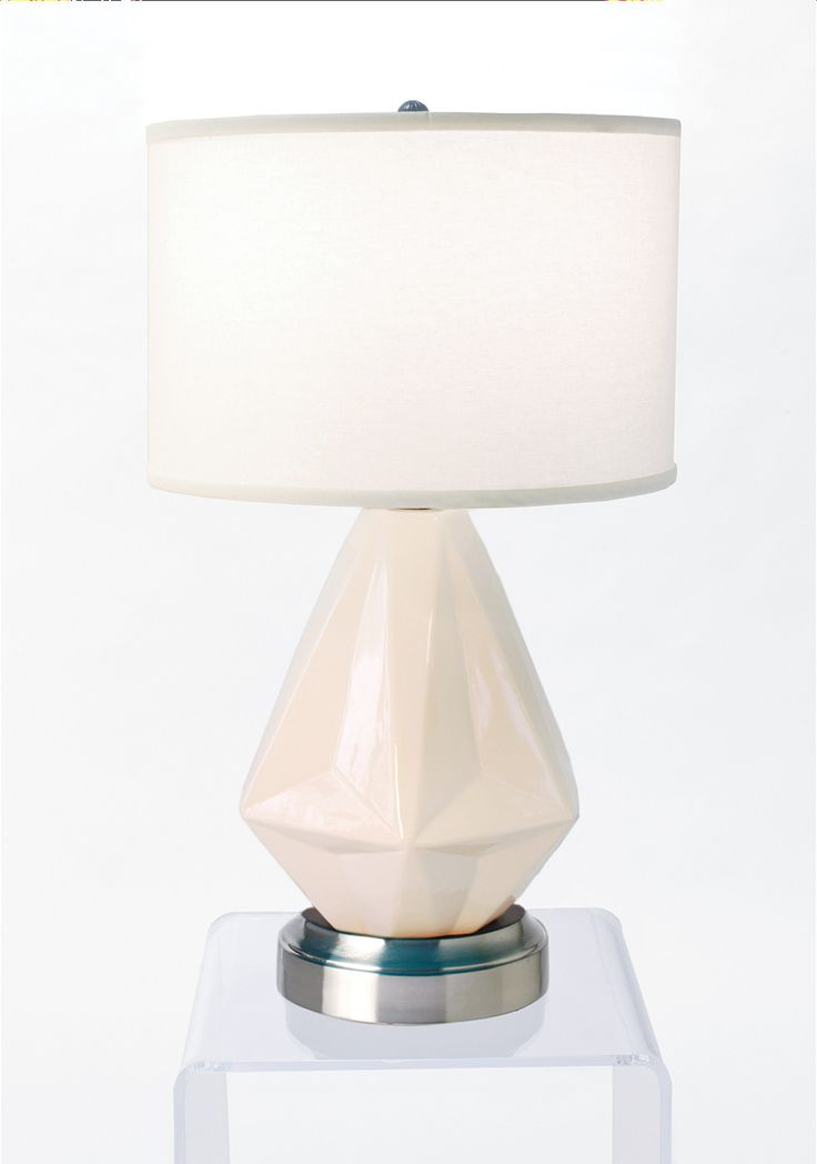 Prisma White on Nickel Cordless Lamp - Made in the USA