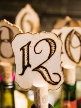 OOAK Handmade Wood Table Numbers (Rustic, Wine)