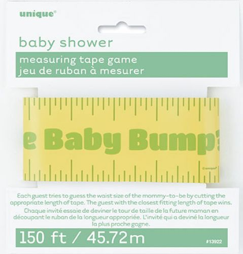 Baby shower measuring tape game http://www.wfdenny.co.uk/p/baby-shower-measuring-tape-game/5606/
