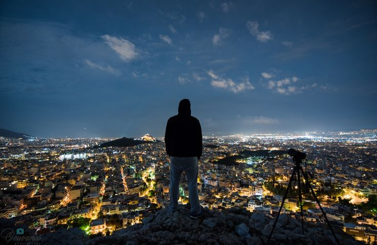 Just me looking the whole Athens city (Greece) by night under the moonlight of 29th of September 2015.