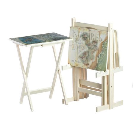 Shore Tray Table Set Showcases Shore Bird Motifs For A Sweep Of Coastal  Style. The Complementing Stand Adds Effortless Appeal, Letting You Stow  This Lovely ...