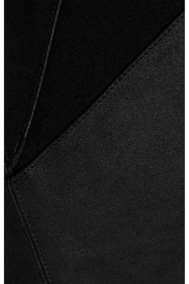 Gareth Pugh - Jersey-paneled Suede Leggings - Black - IT44